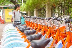 Bicycle rental facilities in the streets of the city. Street bike rental facilities, convenient for people to use public bicycles. In Shenzhen, china Royalty Free Stock Images