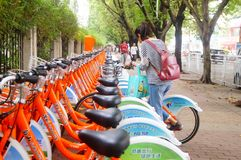Bicycle rental facilities in the streets of the city. Street bike rental facilities, convenient for people to use public bicycles. In Shenzhen, china Stock Photo
