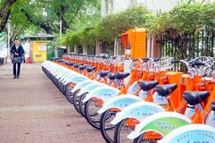 Bicycle rental facilities in the streets of the city. Street bike rental facilities, convenient for people to use public bicycles. In Shenzhen, china Royalty Free Stock Image