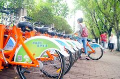 Bicycle rental facilities in the streets of the city. Street bike rental facilities, convenient for people to use public bicycles. In Shenzhen, china Stock Photos