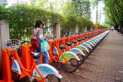 Bicycle rental facilities in the streets of the city. Street bike rental facilities, convenient for people to use public bicycles. In Shenzhen, china Stock Image