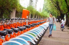 Bicycle rental facilities in the streets of the city. Street bike rental facilities, convenient for people to use public bicycles. In Shenzhen, china Royalty Free Stock Photography