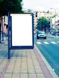 Street billboard. White and blank street billboard royalty free stock photo