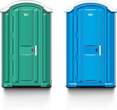 Street biotoilet. Street bio toilet. Blue and green Vector Illustration