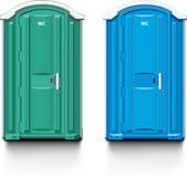 Street biotoilet. Street bio toilet. Blue and green vector illustration