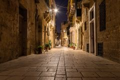 Street in Birgu at Night royalty free stock image