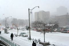 Street with blizzard stock photography