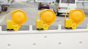 Street blocking - three yellow warning sign Royalty Free Stock Photos