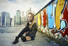 Street Blonde Girl Stock Images