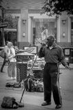 Street blues singer in San Francisco. A street singer performing in the centre of San Francisco Royalty Free Stock Image