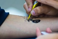 Street body art. In park Royalty Free Stock Photography