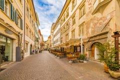Street of Bolzano. In Italy stock images