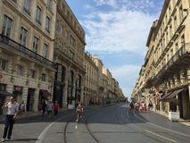 Street of Bordeaux, 18th century architecture, Bordeaux, France Royalty Free Stock Images