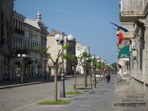 Street in the Braila town, Romania. Royalty Free Stock Photography