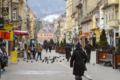 Street in Brasov city center Royalty Free Stock Photos