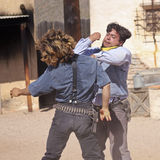A Street Brawl at Old Tucson, Tucson, Arizona Royalty Free Stock Photo