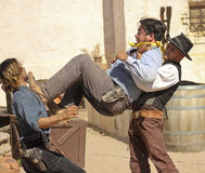 A Street Brawl at Old Tucson, Tucson, Arizona Royalty Free Stock Images