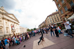 Street breakdancers in Warsaw Stock Photography