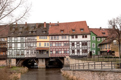 Street bridge. Street passing over the bridge with houses, Erfurt, Germany royalty free stock images