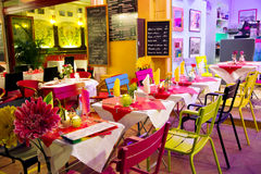 Street bright coloured cafe Stock Image