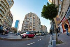 Street in Bucharest. Fisheye shot Royalty Free Stock Photography