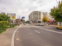 Street of Bucharest in the morning, silence neighborhood and traffic Royalty Free Stock Photo