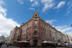 Street and building with sky. Saint Petersburg - Russia - April 14, 2017 : Street and building with sky Stock Photos