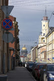Street, buildings, cars, road, view of St. Petersburg, people wa. Street, buildings, cars, road, view of the city of Petersburg, people walking on the sidewalk Royalty Free Stock Photo