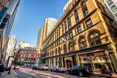 Street and buildings at downtown Boston, Massachusetts royalty free stock photos