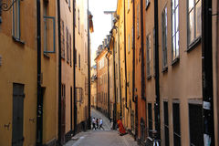 Street and buildings in the Old Town in Stockholm, Sweden. Royalty Free Stock Image