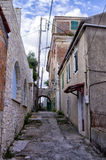Street and buildings in Paxoi island, Greece royalty free stock images