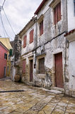 Street and buildings in Paxoi island, Greece stock images