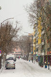 Street buildings in Pomorie, Bulgaria, winter stock photos