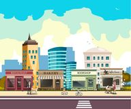 Street with buildings and shop. Vector illustration Royalty Free Stock Images