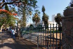 Street in Bulawayo Zimbabwe. ZIMBABWE, BULAWAYO, OCTOBER 27: African student behind school in Bulawayo, the second largest city in Zimbabwe, October 27, 2014 Royalty Free Stock Image