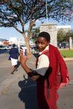 Street in Bulawayo Zimbabwe. ZIMBABWE, BULAWAYO, OCTOBER 27: African student behind school in Bulawayo, the second largest city in Zimbabwe, October 27, 2014 Royalty Free Stock Photos