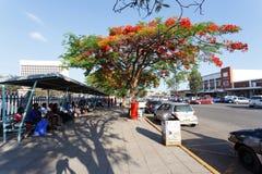 Street in Bulawayo Zimbabwe. ZIMBABWE, BULAWAYO, OCTOBER 27: Peoples on street in the second largest city in Zimbabwe, October 27, 2014, Zimbabwe Royalty Free Stock Photos