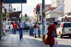 Street in Bulawayo Zimbabwe. ZIMBABWE, BULAWAYO, OCTOBER 27: Peoples on street in the second largest city in Zimbabwe, October 27, 2014, Zimbabwe Stock Image