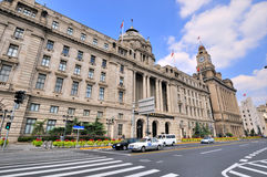 Street and business buildings in Shanghai Bund Stock Images