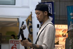 Street busker, Kyoto, Japan Royalty Free Stock Images