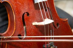 Street Busker Performing Jazz Music Outdoors. Close Up Of Musical Instrument. Contrabass Stock Photos