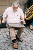 Street Busker performing jazz songs at the Charles Stock Image