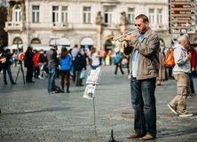 Street Busker performing jazz songs at the Old Royalty Free Stock Image
