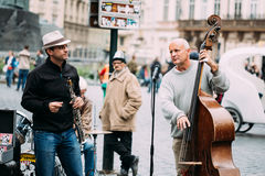 Street Busker performing jazz songs at the Old Stock Images
