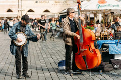 Street Busker performing jazz songs at the Old Town Square in Pr Stock Photography