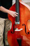 Street Busker performing jazz songs outdoors Stock Photos
