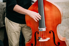 Street Busker performing jazz songs outdoors. Close up of musical instrument contrabass Royalty Free Stock Photo