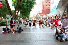 Street busker in Singapore Royalty Free Stock Photography
