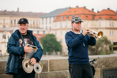 Street Buskers performing jazz songs on the Stock Photography