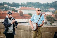 Street Buskers performing jazz songs on the Stock Image